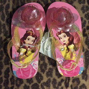 Disney Belle Sandals New Size 7/8 Pink Flower Flip